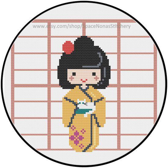 Kokeshi PDF pattern by SpaceNonasStitchery