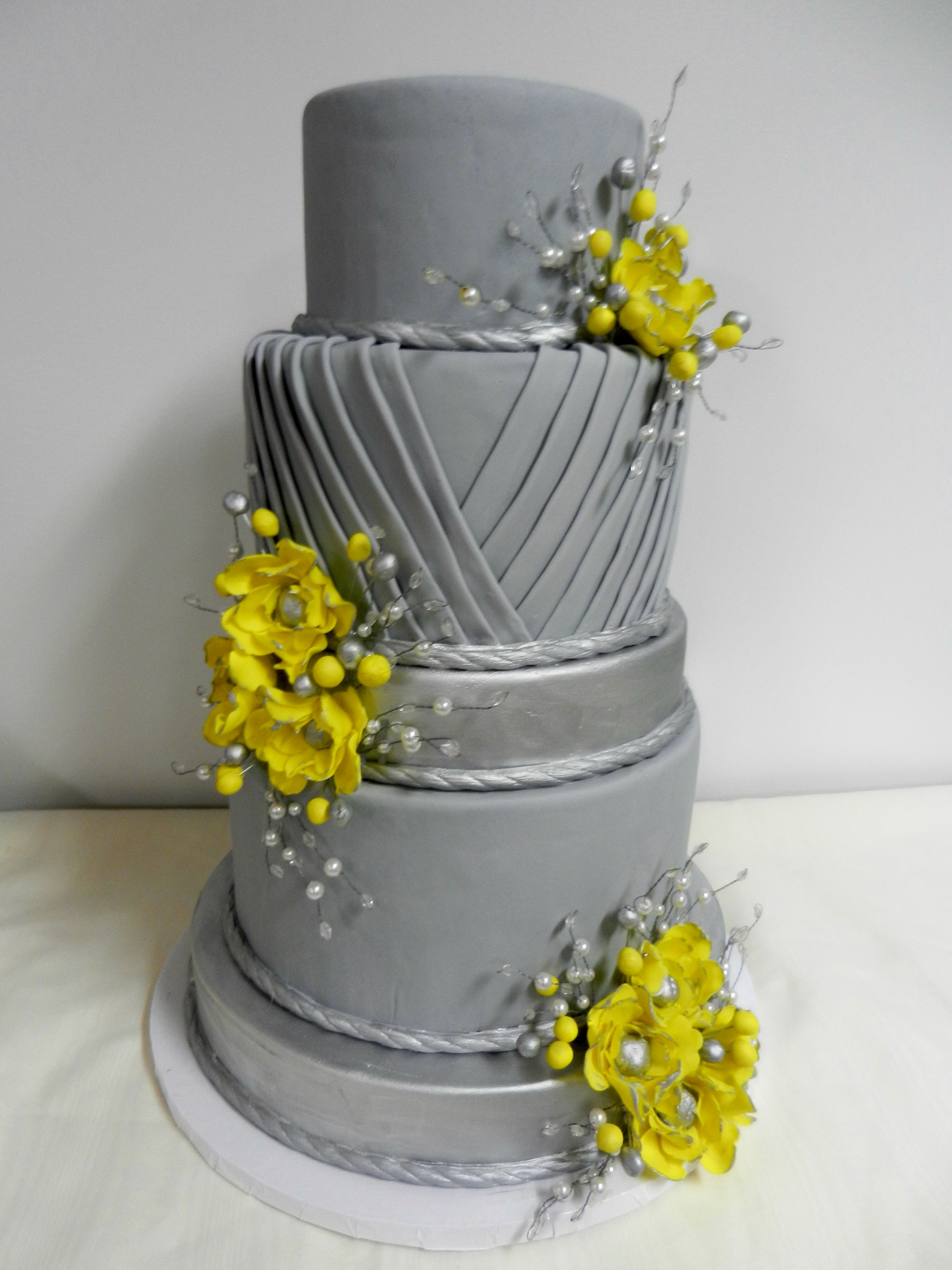 Gray And Yellow Pleated Wedding Cake Www.cheesecakeetc.biz Wedding Cakes  Charlotte NC