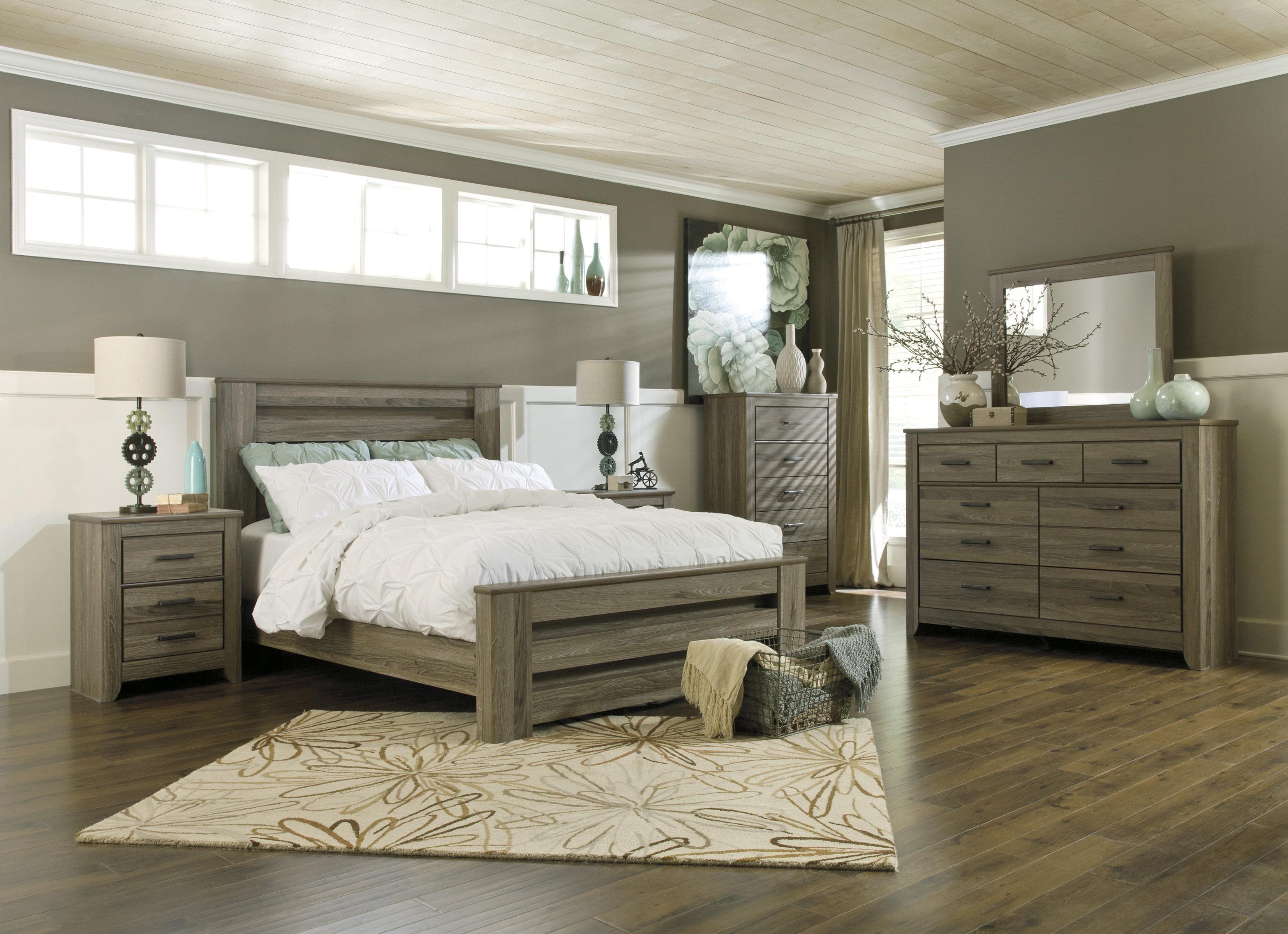 Zelen Queen Poster Bed in Warm Gray Rustic Finish by