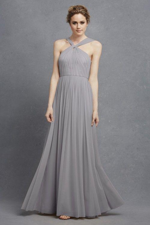 Donna Morgan Ava Dress Long Grey Bridesmaid Collection Serenity
