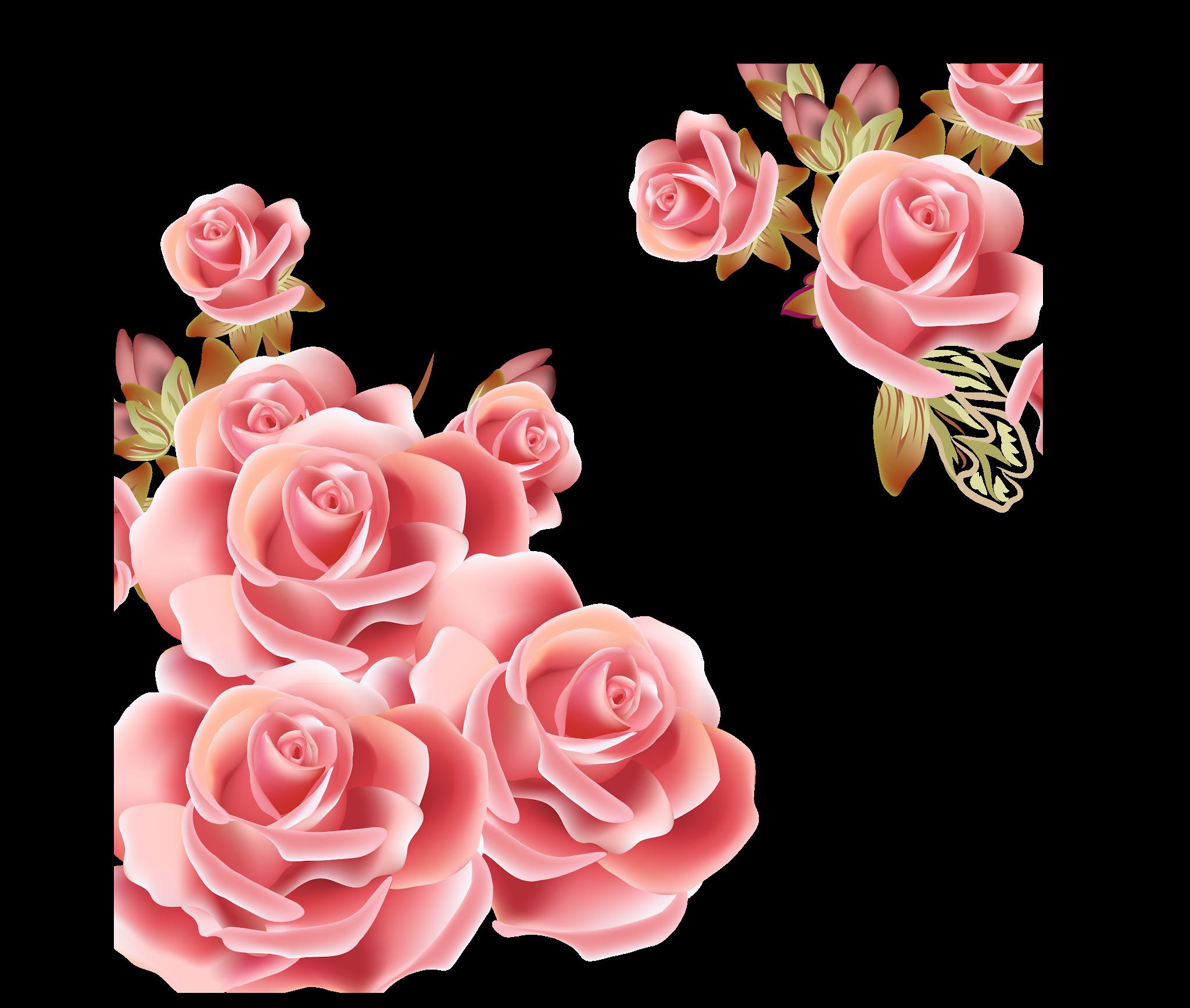 Pink flowers Rose Clip art Vintage Pink Rose Border Png