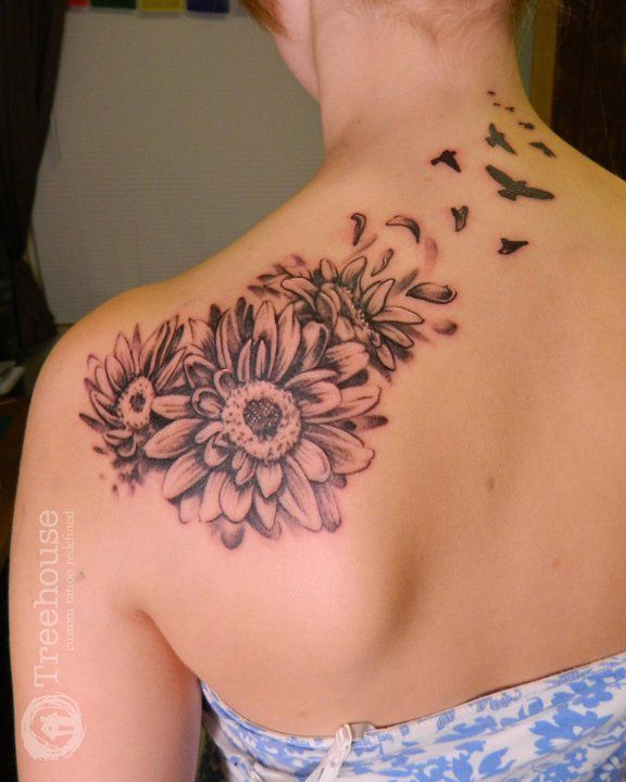 Rose And Daisy Tattoo Stencil: Without The Birds!