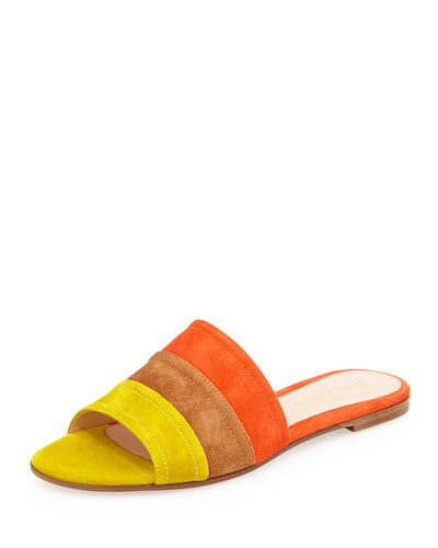 53698de2c9068a X2W30 Gianvito Rossi Colorblock Suede Sandal Slide