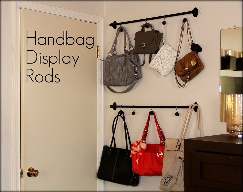 Handbag Display Curtain Rods And Shower Hooks With Large For Holding Ger Purses Bags