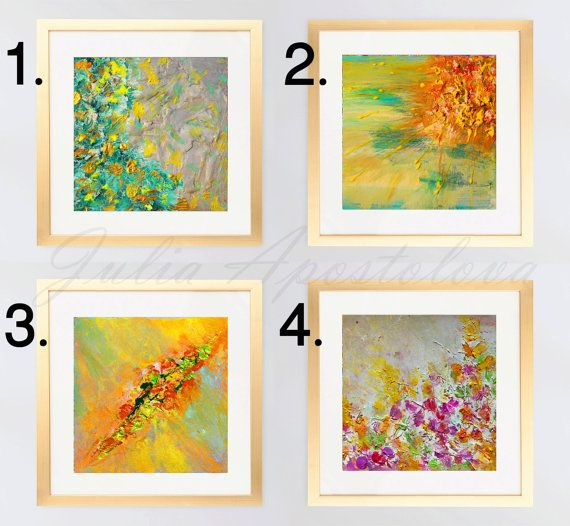 Set of 2, 3 or 4 Giclee Prints, Floral Art Print, Abstract ...