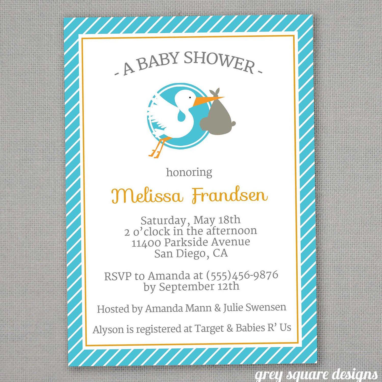 Modern Stork Baby Shower Invitation. | baby shower | Pinterest ...