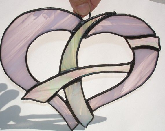Breast cancer awareness stained glass pink heart. $37.00, via Etsy.