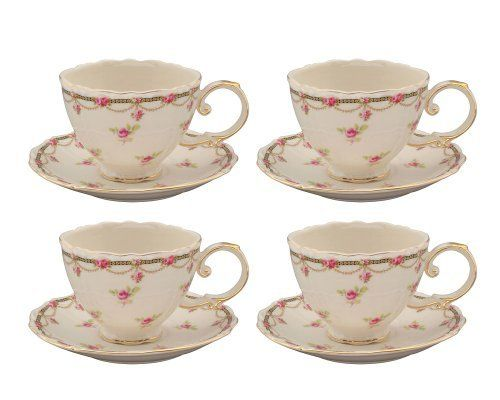Gracie China Pink Petite Fleur Porcelain 7-Ounce Cup and Saucer, Set of 4 by Gracie China by Coastline Imports, http://www.amazon.com/dp/B004PGM3CI/ref=cm_sw_r_pi_dp_dn3Crb0NGX92H