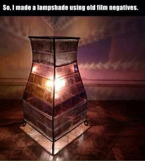 Use old film negatives to make a lamp shade.