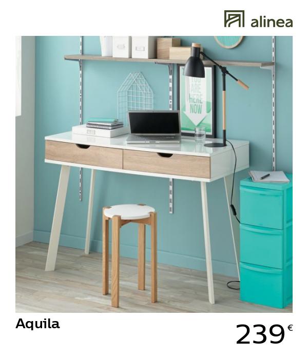 Alinea Aquila Bureau Blanc Style Scandinave A Tiroirs Imitation