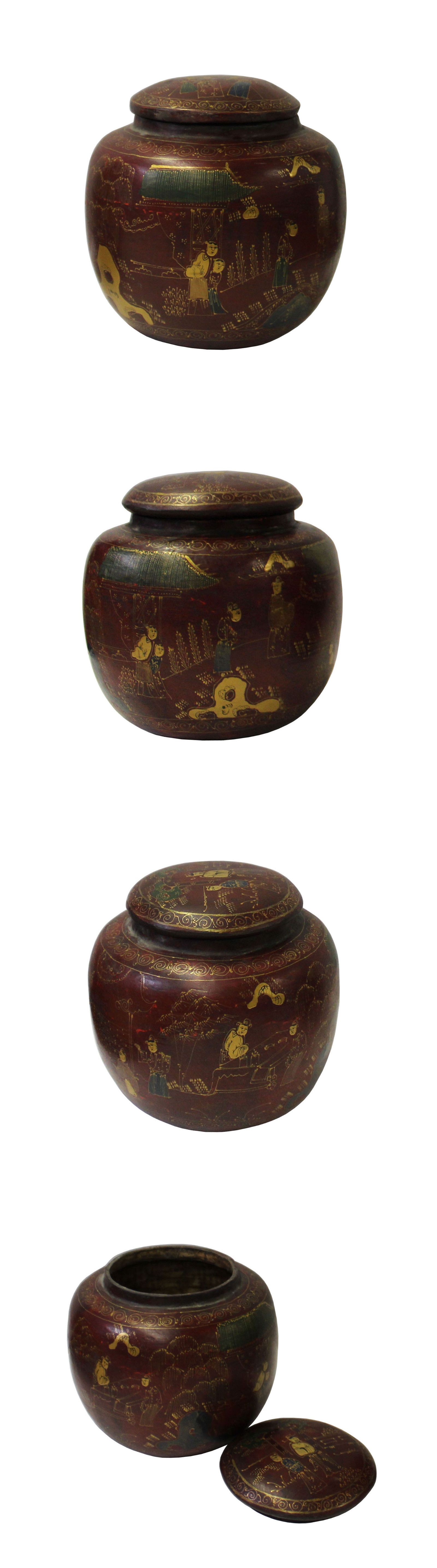 Antiques chinese brown lacquer scenery painting round container jar