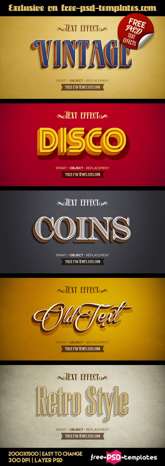 Free Free 5 Retro Vintage Text Effects Template In Psd Pls Enjoy Words Logo Retro Typography Photoshop Text Effects Text Effects