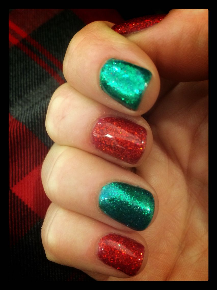 Christmas red and green glitter gel nail polish. So festive and fun ...