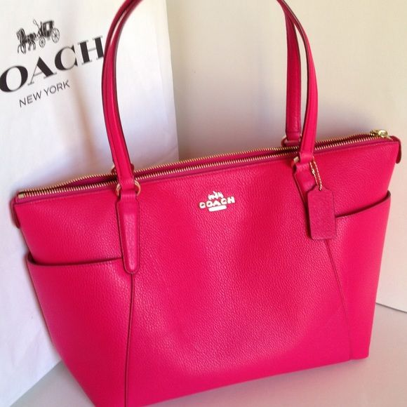 b85d4905aa40 NWT Coach Pebble Leather Ava II Handbag F37216 pink ruby pebbled leather AVA  II tote shoulder bag NWT. Zip top closure. Handles with 9