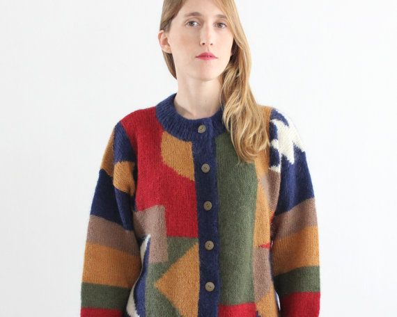 vintage chrismas sweater / 70s geometric by PaintYourWagonShop