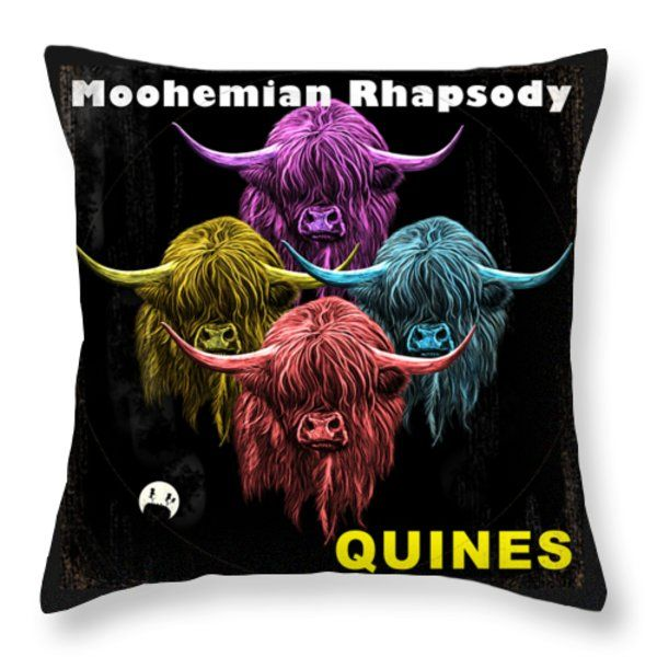 Moohemian Rhapsody Throw Pillow by David Brodie