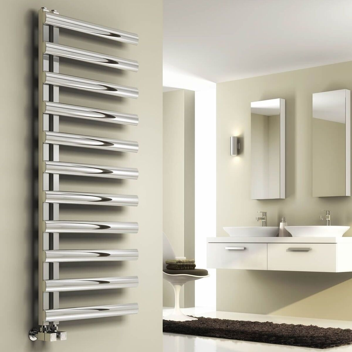 Reina Cavo Designer Heated Towel Rail 530mm H x 500mm W ...