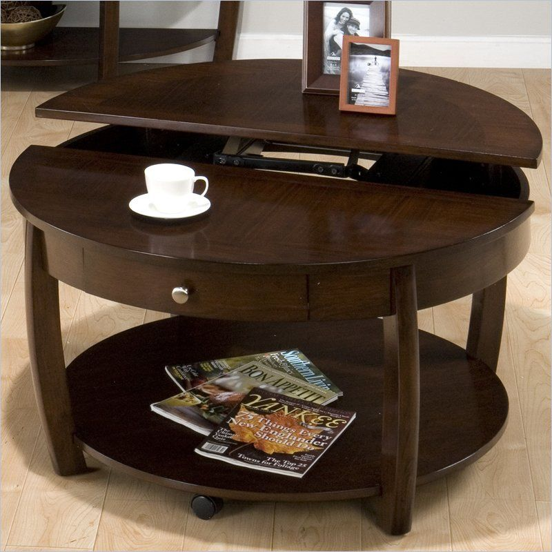 Incroyable Jofran Riverside Round Lift Top Cocktail Table In Brown Walnut   436 2