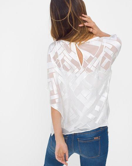 Geo-Print Burnout Kimono-Sleeve Top