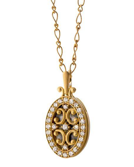Monica Rich Kosann - 18k Gold Diamond Oval Gate Locket Necklace