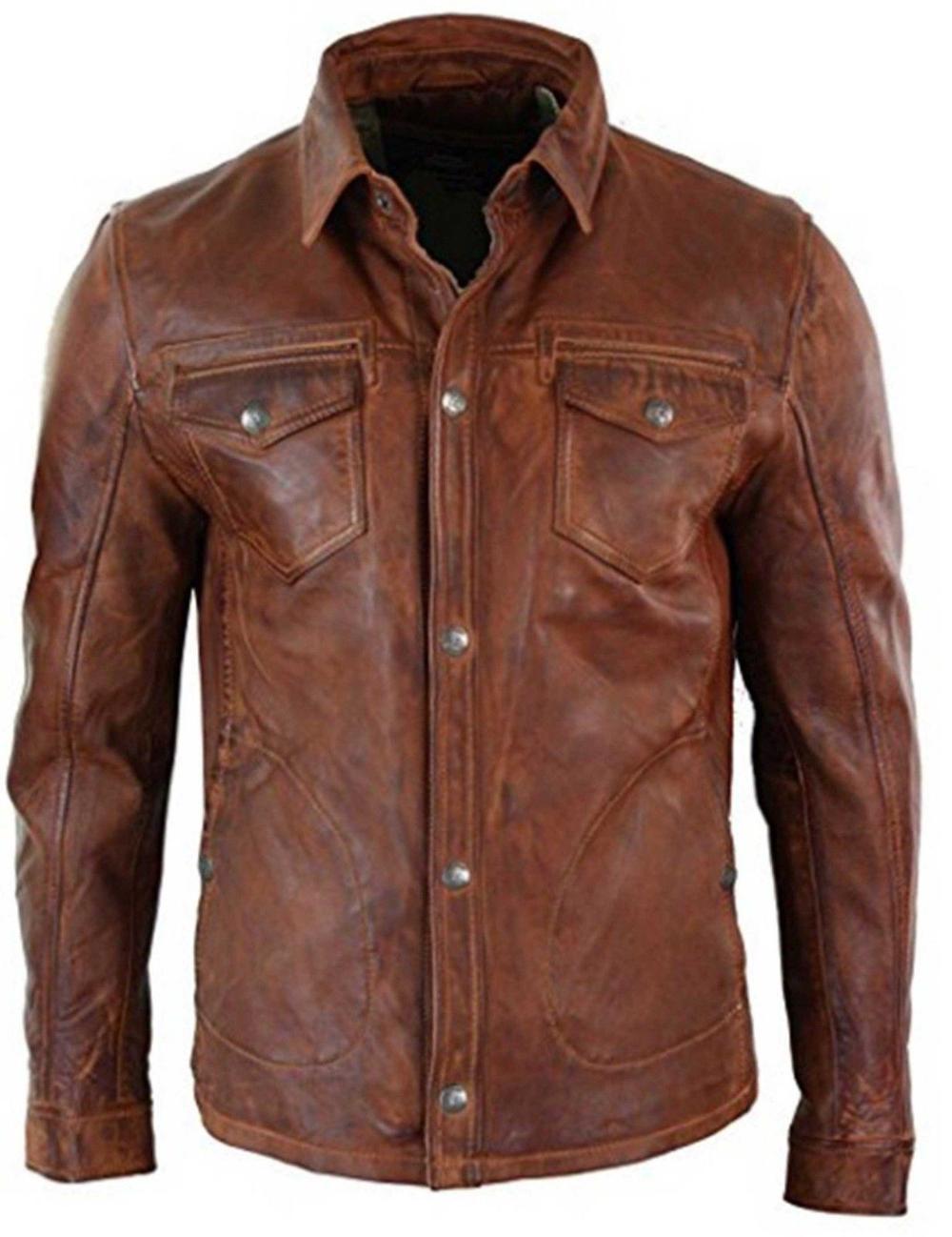 Mens Shirt Jacket Brown Real Soft Genuine Waxed Sheepskin