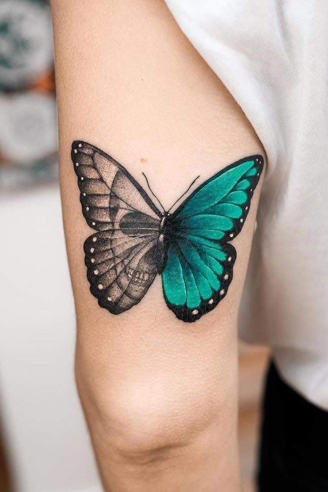 Photo of Half-colored butterfly tattoo with skull – half-colored base … – half-colored …