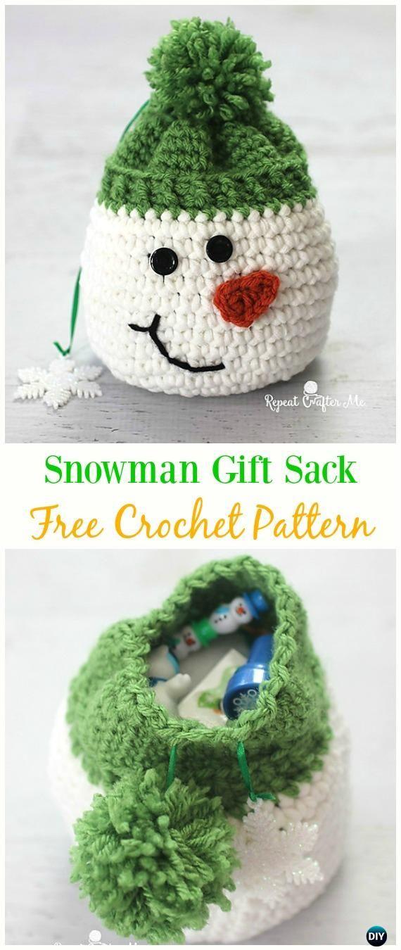 Snowman Gift Sack Bag Free Crochet Pattern -#Crochet Drawstring ...