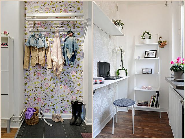..smart use of space and surprising... i like the wallpaper in the closet