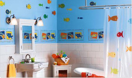 Gray, blue and purple themes | Childrens bathroom, Kids ...