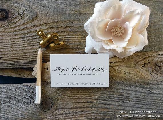 Custom modern calligraphy business cards digitally printed