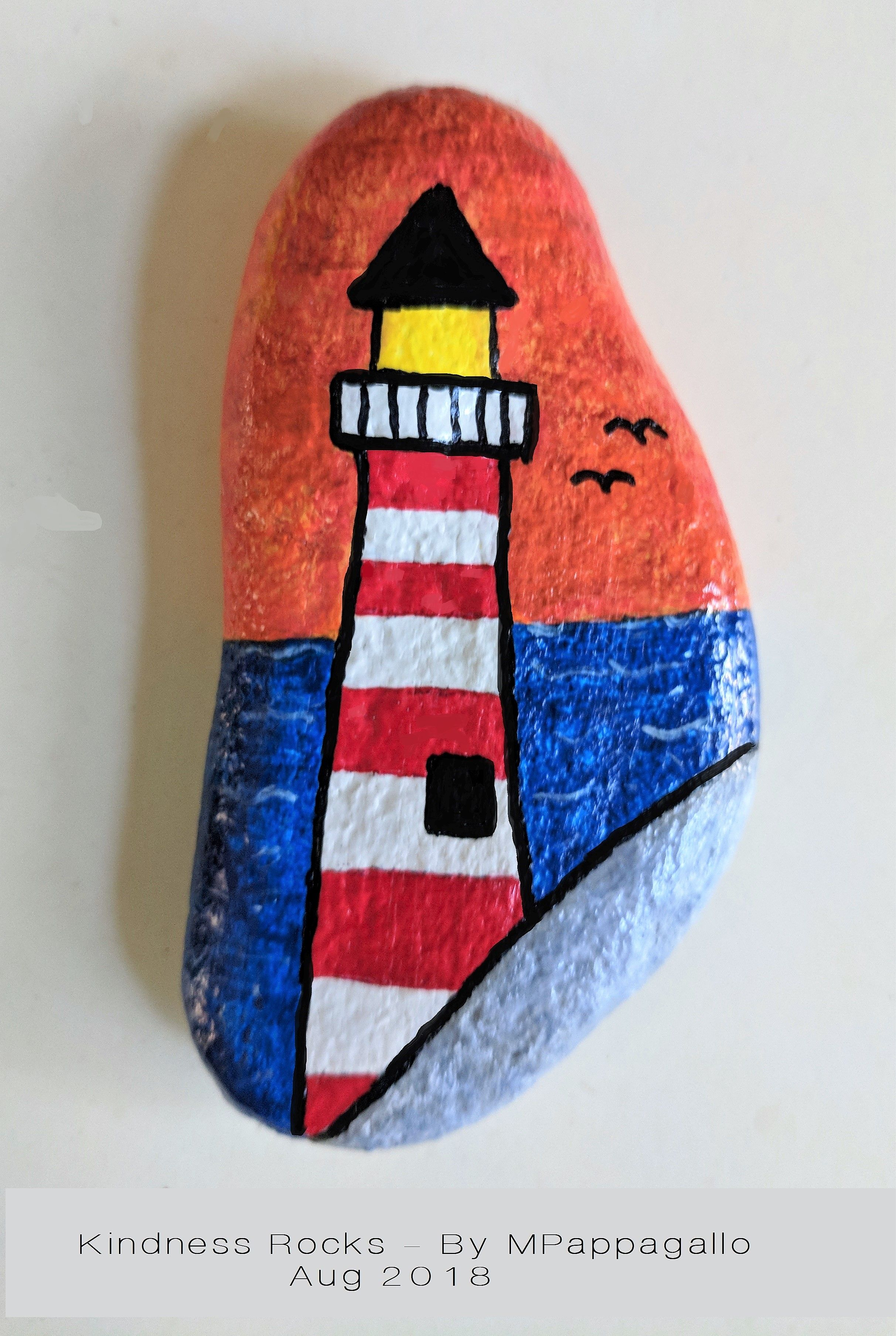 Lighthouse Painted Rock - Aug 2018 #rockpainting