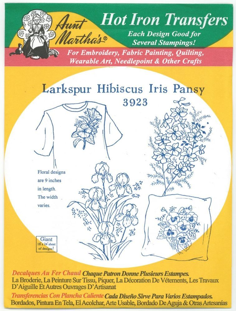 Hibiscus Iris Pansy Aunt Martha\'s Hot Iron Embroidery Transfer #3923 ...