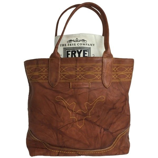Pre-owned Saddle Leather Frye Campus Tote ($268) ❤ liked on Polyvore