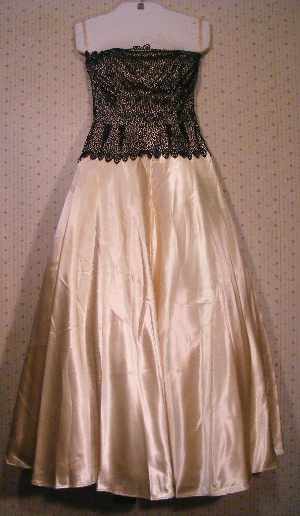 vintage 50's champagne silk black lace wedding dress 200
