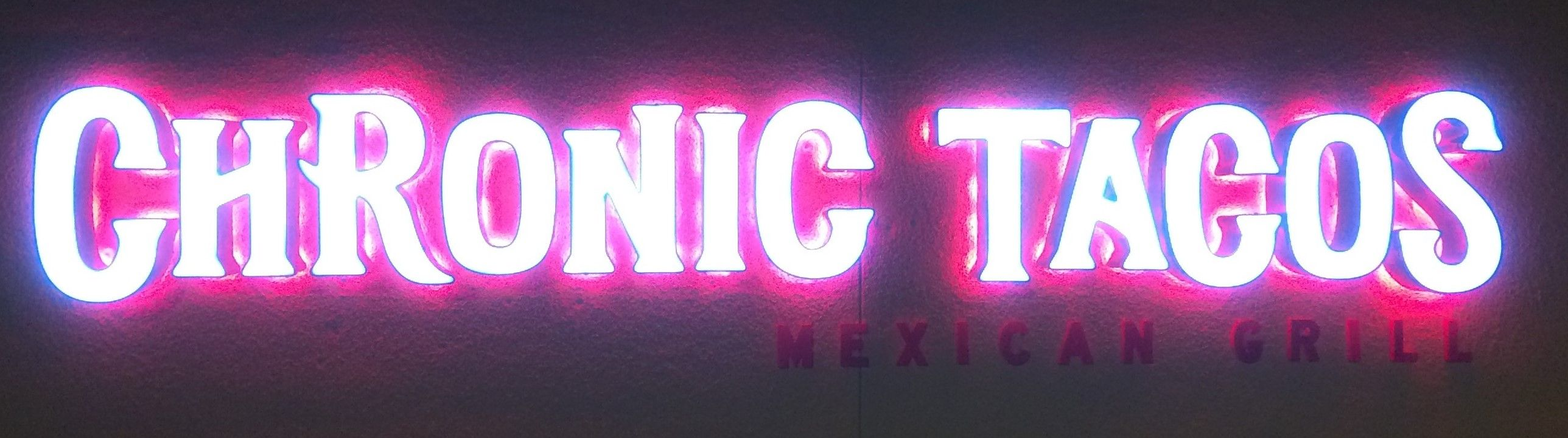 These are compound channel letters that have white LEDs to