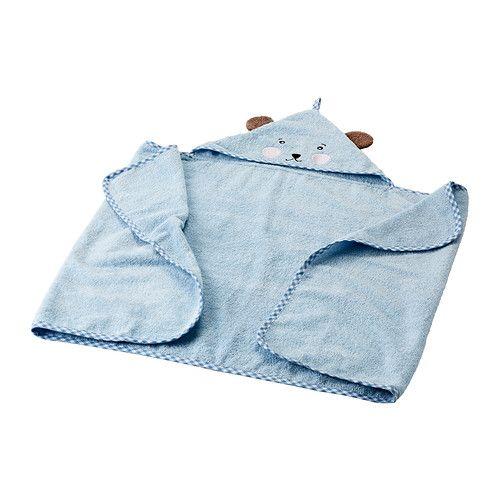 IKEA - BADET, Huppupyyhe vauvalle, , Puuvillaa, joka tuntuu ihanan pehmeältä ja mukavalta vauvan ihoa vasten.Ripustuslenkin ansiosta helppo ripustaa naulakkoon tai koukkuun.