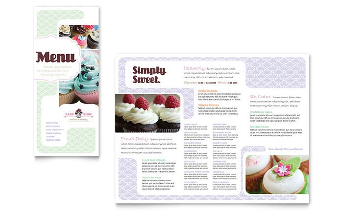 Bakery and Cupcake Shop Menu Design Template by StockLayouts - microsoft word tri fold brochure