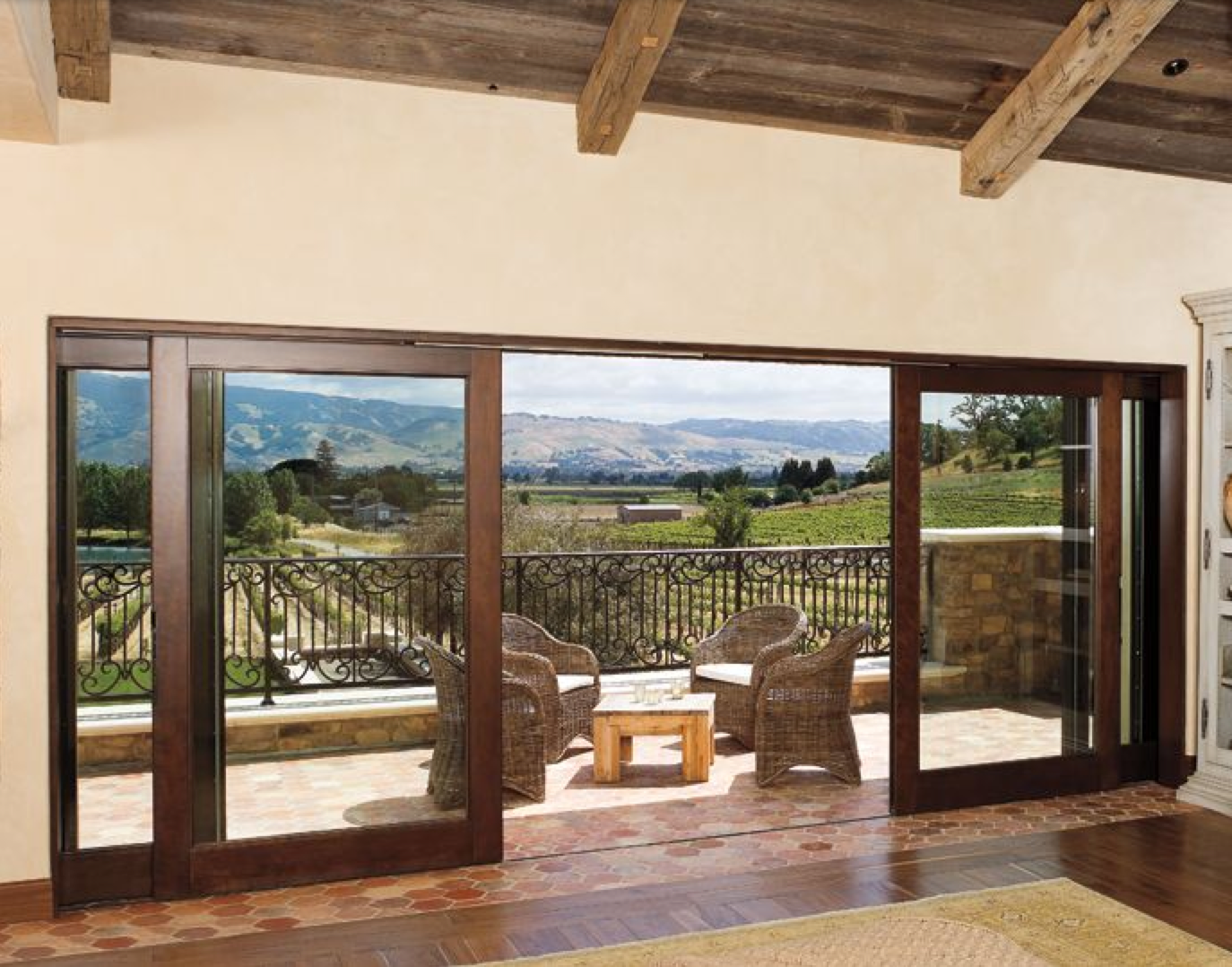 Napa Valley Wood Sliding Glass Door With Vaulted Wood Ceilings.