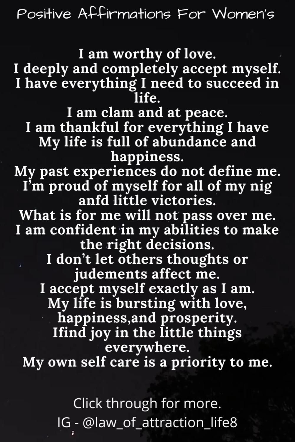 Daily Positive Affirmations and Inspiration for Women's