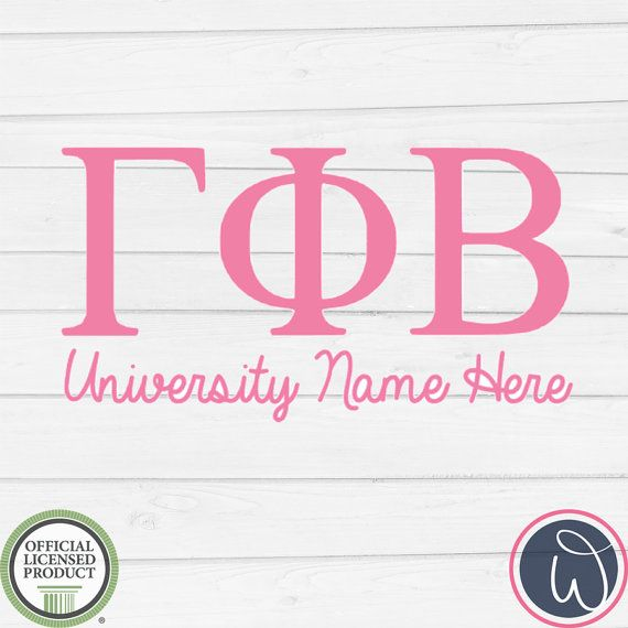 Gamma phi beta sorority vinyl decal customized with your school name letter decalscar