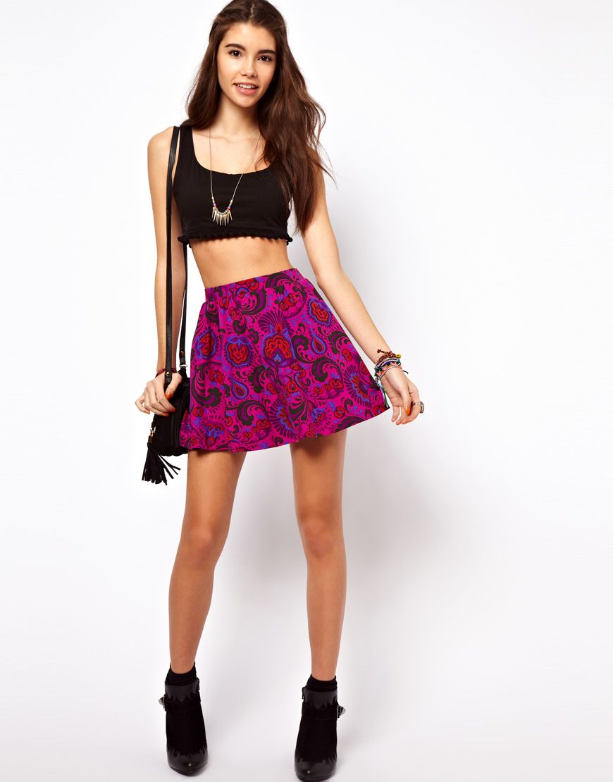 ASOS Skater Skirt in Bright Paisley Print | Clothing | Pinterest