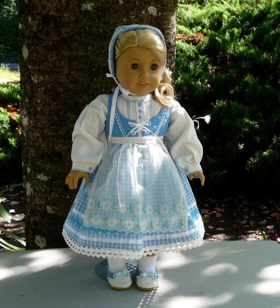 Empress' Secret Closet ~ Scandinavian style Summer Folkdräkt in blue and white plaid for Kirsten, Bodice with embroidered heart trim, pintucked linen Blouse trimmed with a pale blue lace, matching Cap, vintage handkerchief Apron, Pantalettes and handmade Shoes by Calyxadollcreations on Etsy