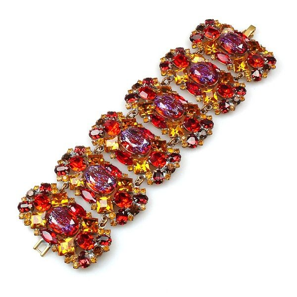 "Exquisite rhinestone bracelet created from six segments, used unusual wonderful stones, length 7.00"", width 2.05"""