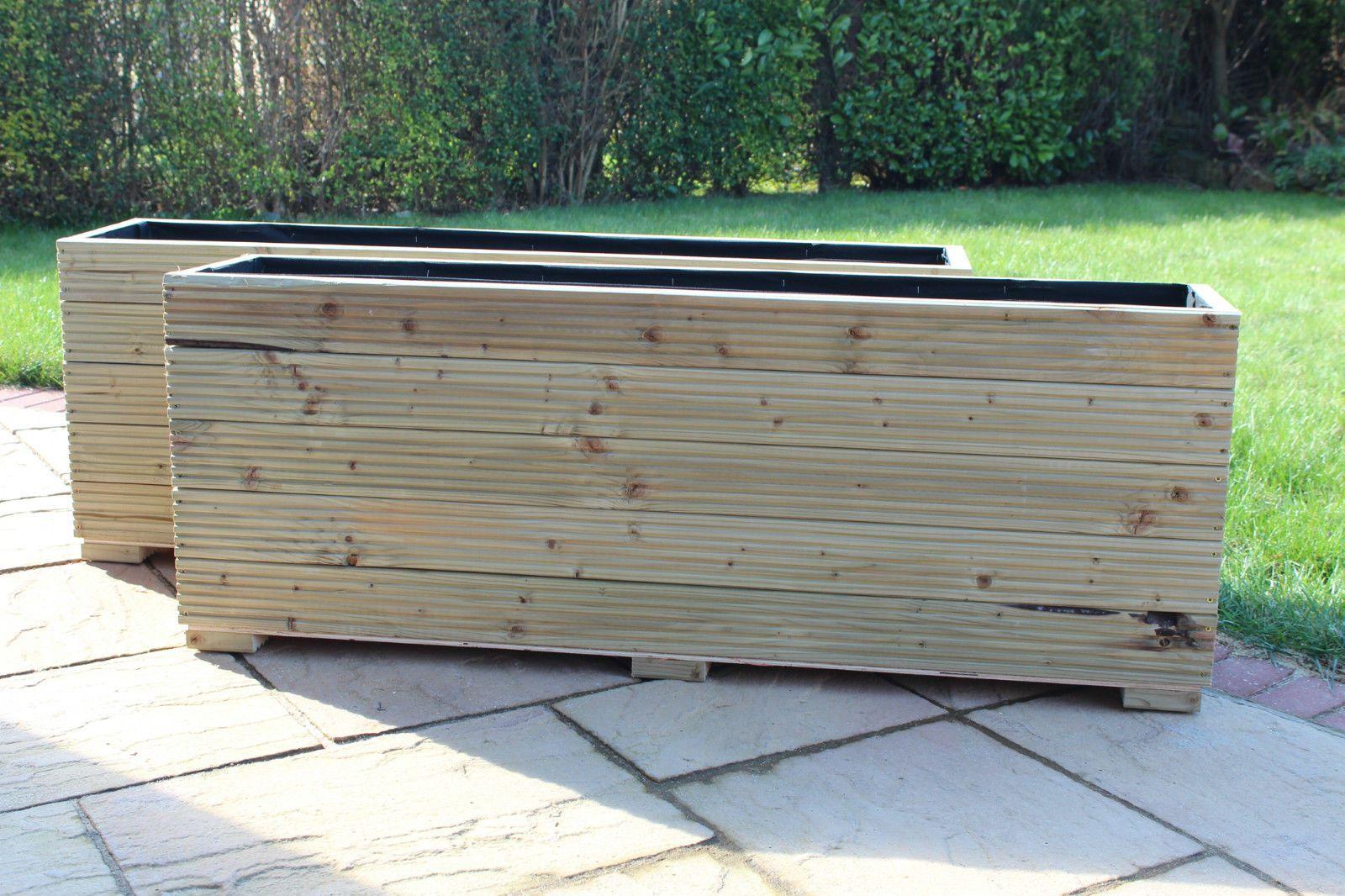 details about large wooden garden planter trough 50cm soil. Black Bedroom Furniture Sets. Home Design Ideas