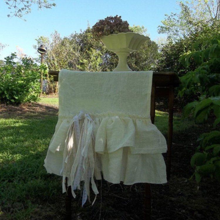 Shabby Double Ruffle Linen Table Runner . Custom Sizes & Fabrics . Contact me for details  www.misshettie.etsy.com