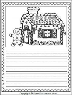 Free Gingerbread House Writing Page with print practice ...
