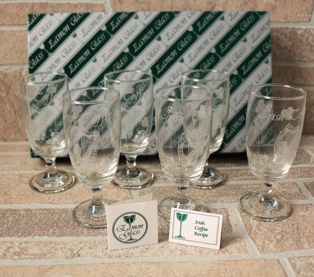 Set of 6 Eamon Glass Irish Coffee Glasses Cups Shamrock