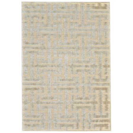 Lend a touch of visual appeal to your living room or entryway with this art silk rug, featuring a geometric motif in a neutral palette.
