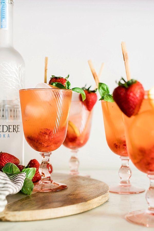 Boozy Strawberry Basil Lemonade #basillemonade