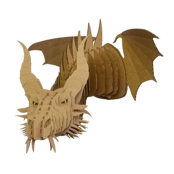 nikita t te de dragon en carton grand brown par cardboardsafari carton pinterest nikita. Black Bedroom Furniture Sets. Home Design Ideas